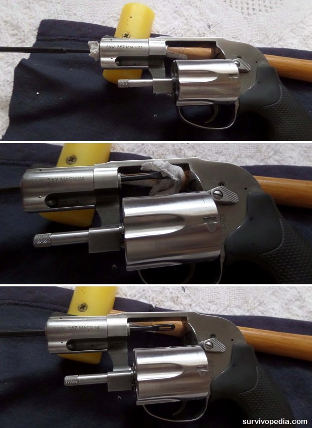 cleaning revolver with cleaning rod and cleaning patch tip