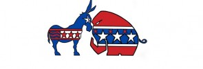 6267684 - political symbols of republicans and democrats facing off