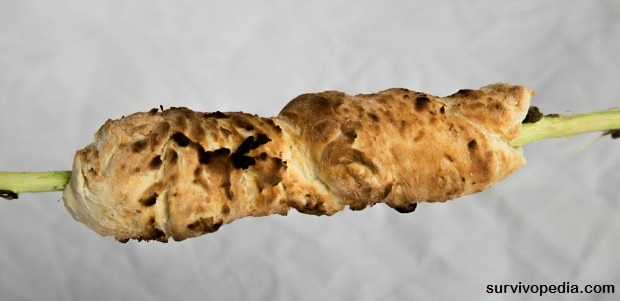 Cooked bannock on stick